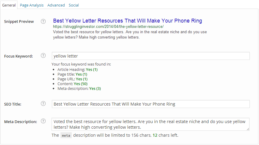 Yellow Letter Resource - SEO