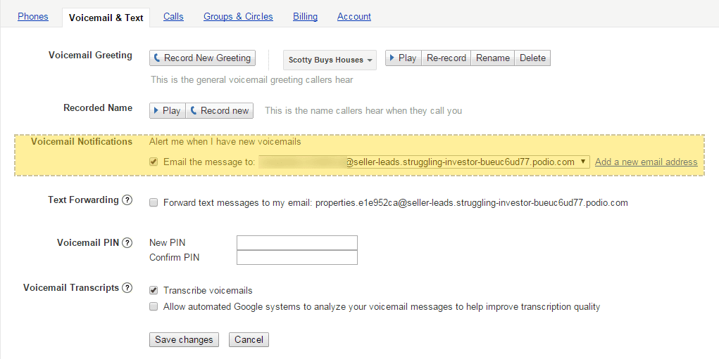 google voice email forwarding